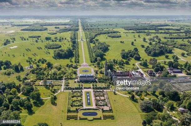 KINGDOM JUNE 10 Aerial view of Eaton Hall in Cheshire on June 10 2015 Located four miles south of Chester this French chateaux style mansion was the...