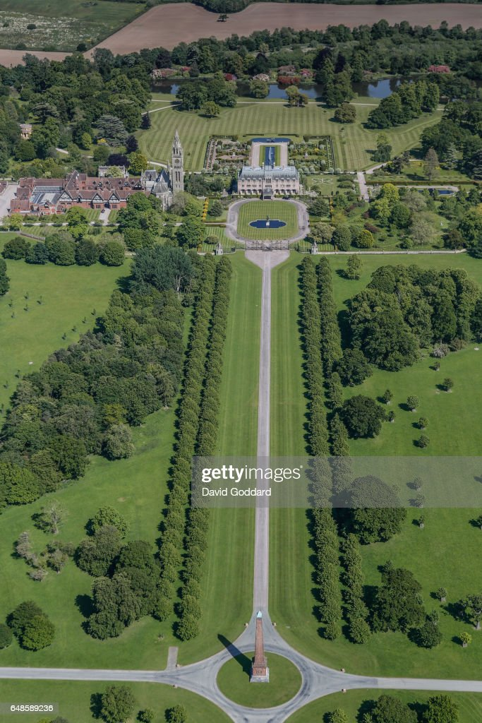 KINGDOM -JUNE 10. Aerial view of Eaton Hall in Cheshire on June 10, 2015. Located four miles south of Chester, this French châteaux style mansion was the country home of the Duke of Westminster.'n