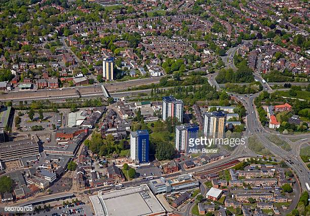 aerial view of eccles suburb of manchester - greater manchester stock pictures, royalty-free photos & images