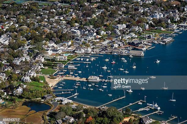 S VINEYARD EDGARTOWN MASSACHUSETTS UNITED STATES Aerial view of Edgartown harbor