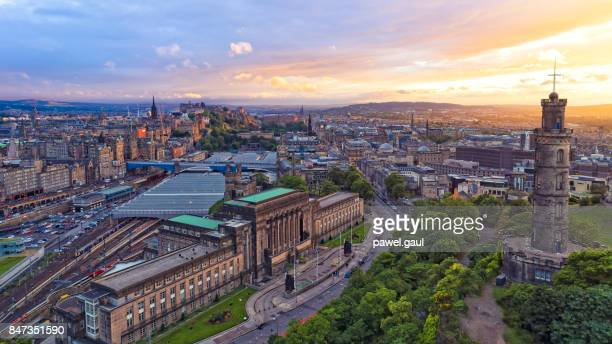 Aerial view of Edinburgh during sunset
