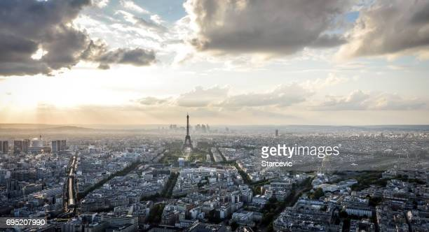 Aerial view of Eiffel Tower and Paris during sunset