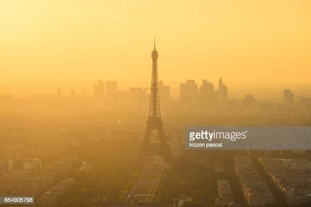 aerial view of Eiffel tower during a foggy day , Paris , France