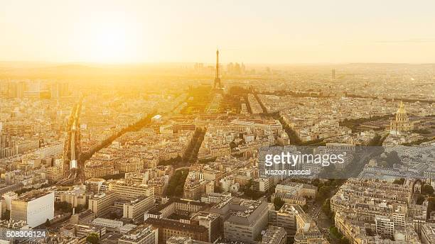 aerial view of eiffel tower in Paris during sunset