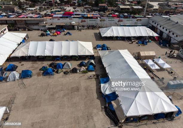 Aerial view of El Barretal temporary shelter where Central American migrants traveling on the first caravan to the United States stayed in Tijuana in...