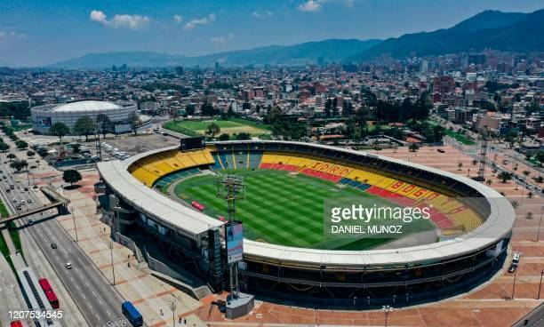 Aerial view of El Campin stadium in Bogota on March 17, 2020. - The Copa America due to kick off in June in Argentina and Colombia was on Tuesday...