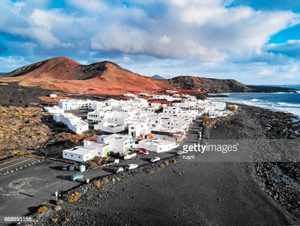 aerial view of el golfo village, lanzarote, canary islands, spain - lanzarote stock pictures, royalty-free photos & images