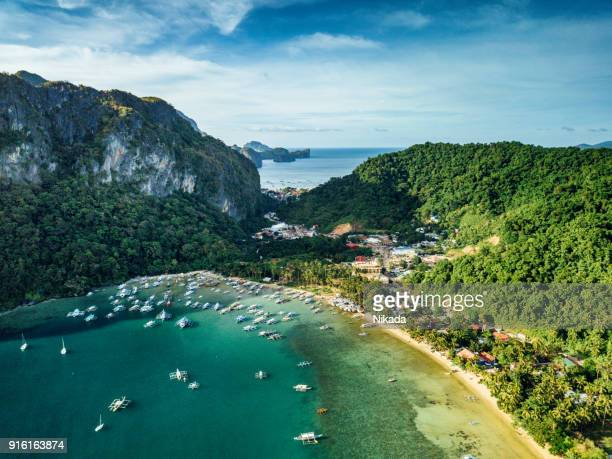 aerial view of el nido,  palawan island philippines - el nido stock pictures, royalty-free photos & images
