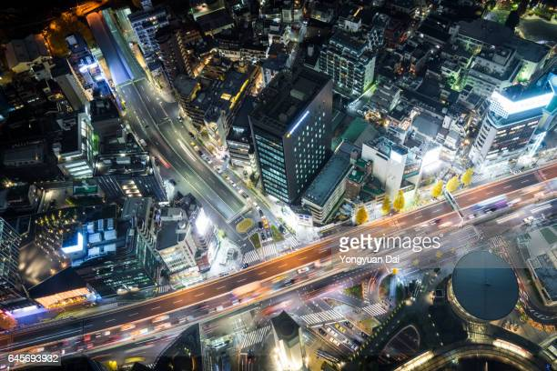 Aerial View of Elevated Roads at Night