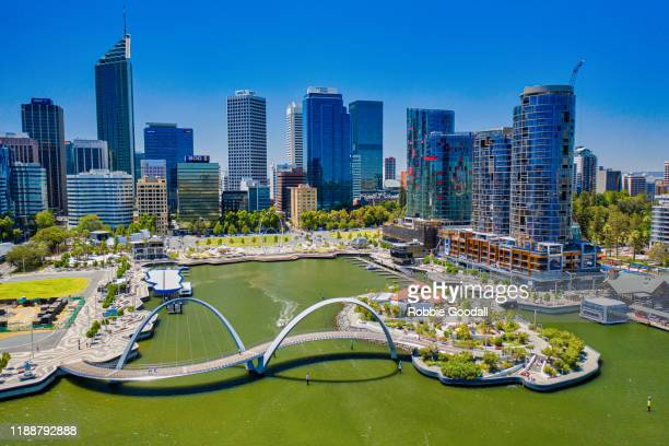 aerial view of elizabeth quay waterfront, perth - western australia - perth australia stock pictures, royalty-free photos & images
