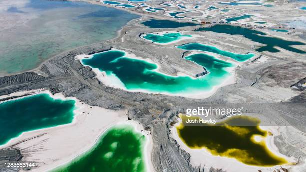 aerial view of emerald lake,qinghai province,china - pacific ocean stock pictures, royalty-free photos & images