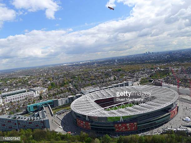 Aerial view of Emirates Stadium during the Barclays Premier League match between Arsenal and Chelsea on April 21, 2012 in London, England.