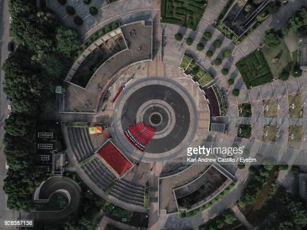 aerial view of empty amphitheater - amphitheatre stock pictures, royalty-free photos & images