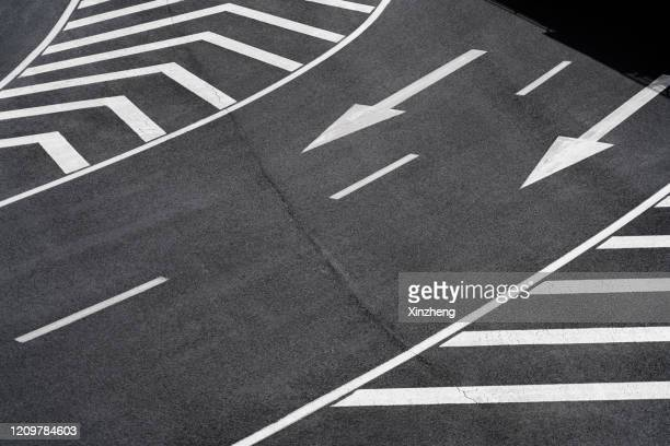 aerial view of empty asphalt road - dividing line road marking stock pictures, royalty-free photos & images