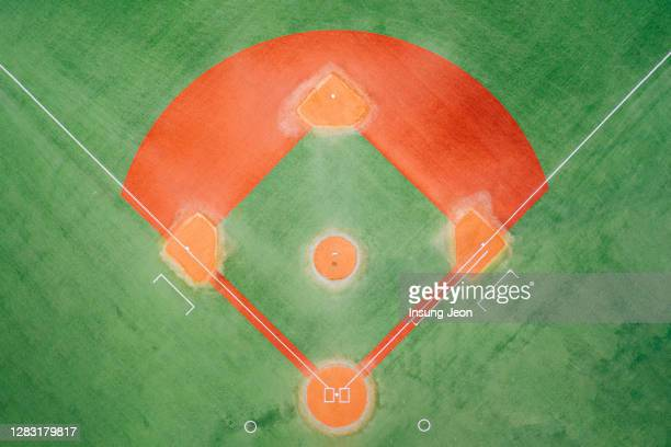 aerial view of empty baseball field - baseball diamond stock pictures, royalty-free photos & images