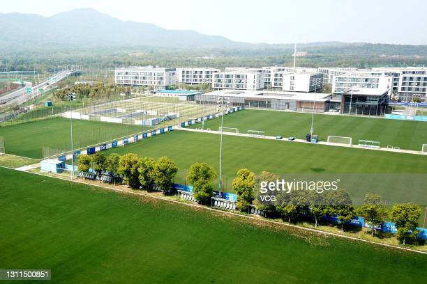 Aerial view of empty fields at the Jiangsu Suning Football Club, which has ceased operations, on April 8, 2021 in Nanjing, Jiangsu Province of China.