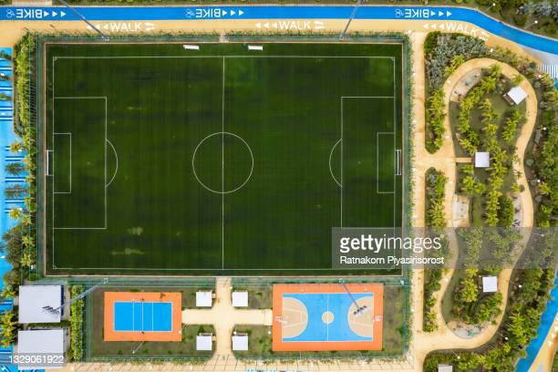 aerial view of empty green football pitch and public ground - the championship football league stock pictures, royalty-free photos & images