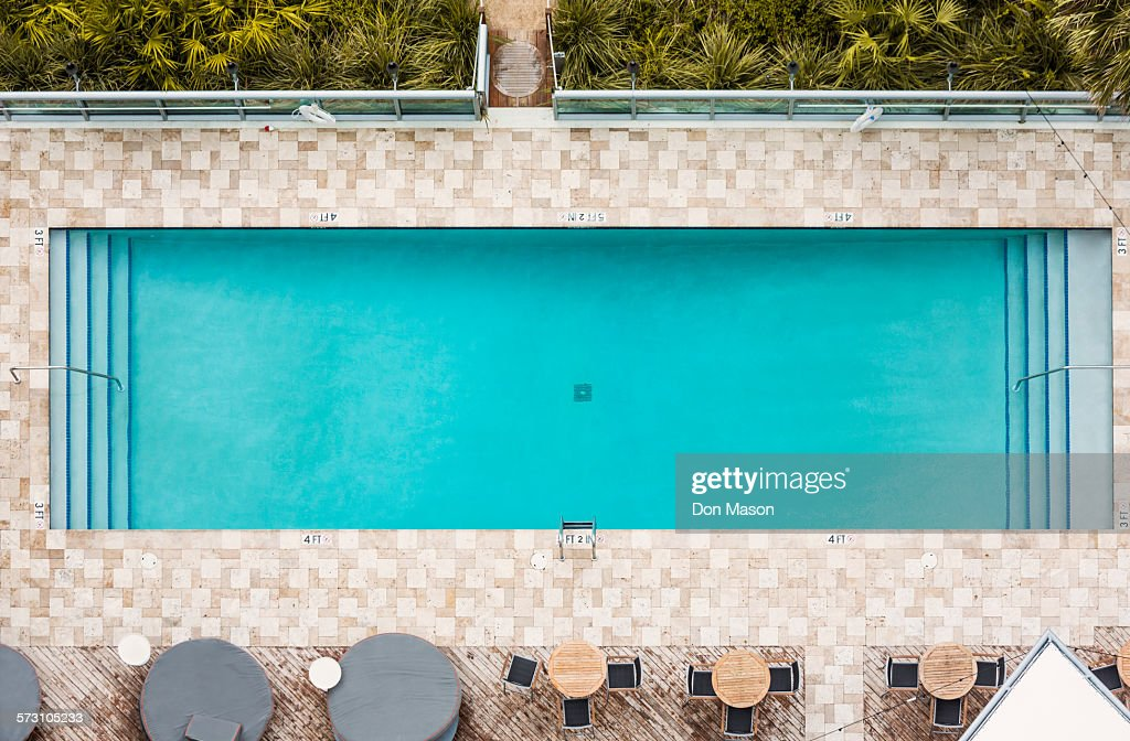 Aerial view of empty swimming pool : Stock Photo