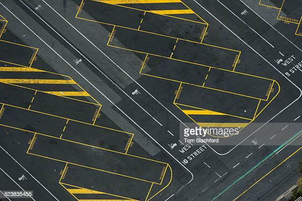 Aerial view of empty truck parking lot, Port Melbourne, Melbourne, Victoria, Australia