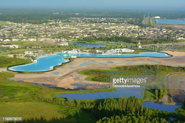 aerial view of epperson lagoon aquatic centre in pasco county, florida - pasco stock photos and pictures