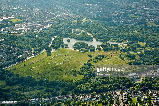 Aerial view of Epping forest and Whipps Cross