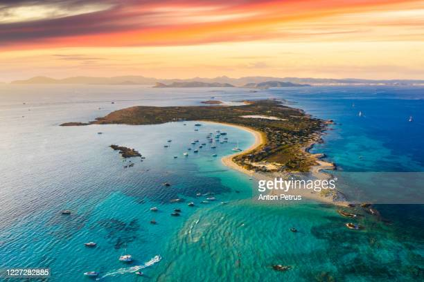 aerial view of espalmador island at sunset, ibiza. balearic islands, spain - balearic islands stock pictures, royalty-free photos & images