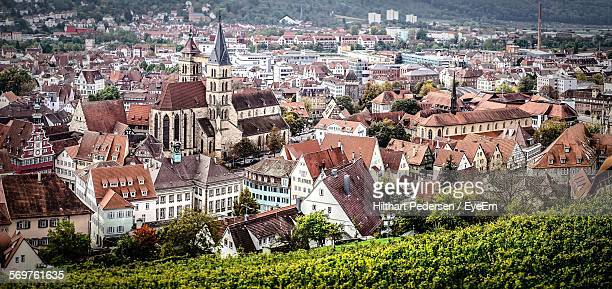 aerial view of esslingen cityscape - hanover germany stock pictures, royalty-free photos & images