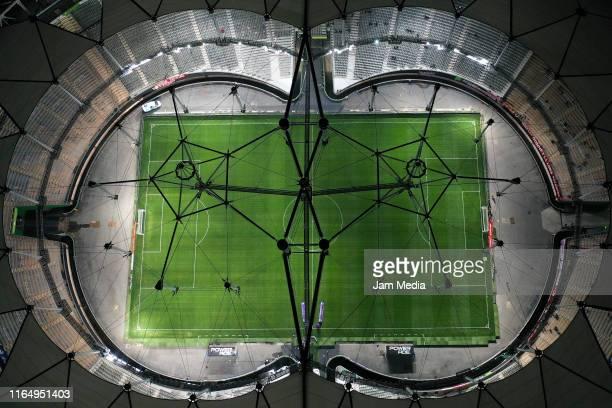 Aerial view of Estadio Ciudad de La Plata prior a match between Estudiantes and Velez as part of Superliga 2019/20 on August 30, 2019 in La Plata,...