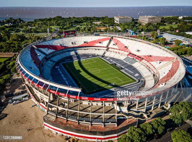 Aerial view of Estadio Monumental Antonio Vespucio Liberti before a match between River Plate and Rosario Central as part of Copa De La Liga...
