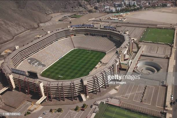 Aerial view of Estadio Monumental de Lima on November 07 2019 in Lima Peru As a result of the protests and social unrest that started on October 18...