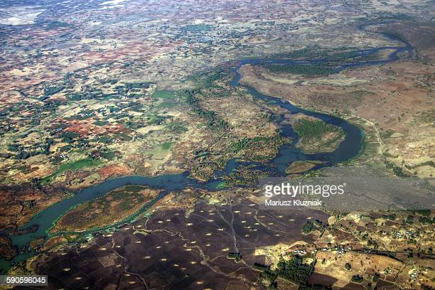 Aerial view of Ethiopian landscape with Blue Nile