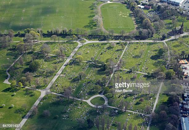 aerial view of everton cemetery in aintree - liverpool everton stock pictures, royalty-free photos & images