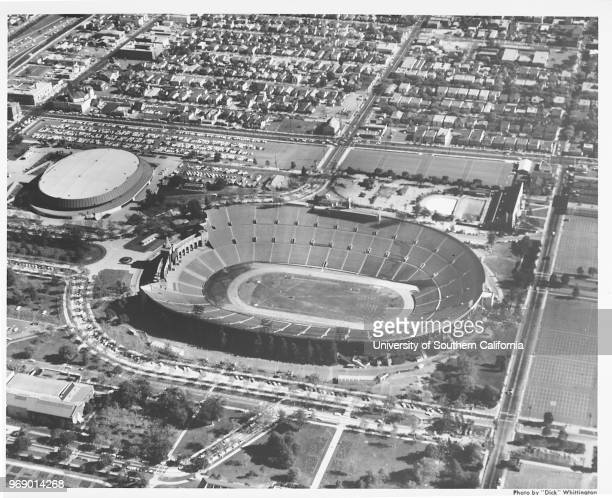 Aerial view of Exposition Park, Coliseum, Sports Arena, Los Angeles, California, early to mid twentieth century.