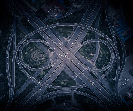 Aerial view of eye shaped overpass highway - gettyimageskorea