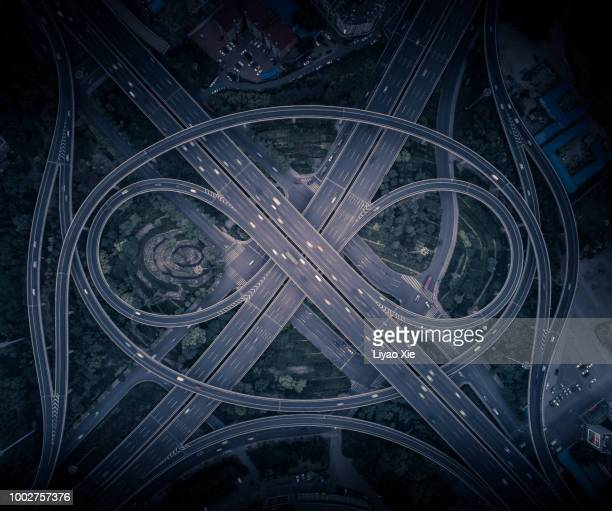Aerial view of eye shaped overpass highway