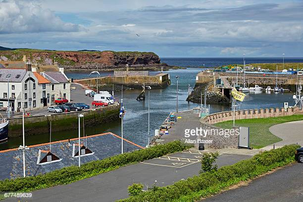 Aerial view of Eyemouth harbour fishing village