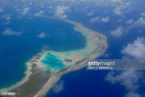 Aerial view of Fakarava Atoll Tuamotu Islands French Polynesia