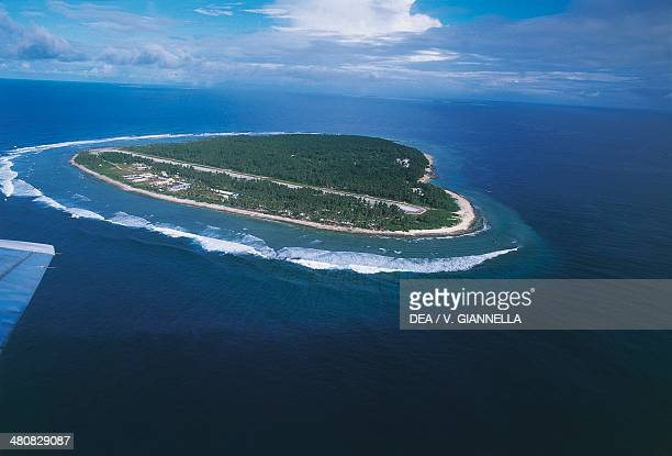 Aerial view of Falalop islet Ulithi Atoll Yap Islands Federated States of Micronesia