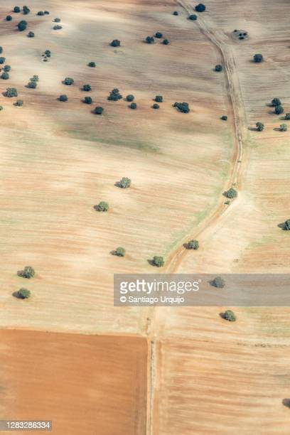 aerial view of fallow fields in province of madrid - 休耕田 ストックフォトと画像