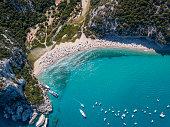Aerial view of famous Cala Luna Beach, Sardinia