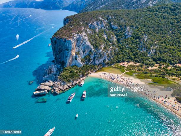 aerial view of famous cala luna beach, sardinia - sardinia stock pictures, royalty-free photos & images
