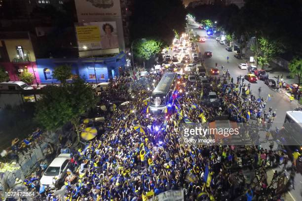 Aerial view of fans of Boca Juniors during a gathering to bid farewell to their players who travel to Madrid to play River Plate in the Copa CONMEBOL...
