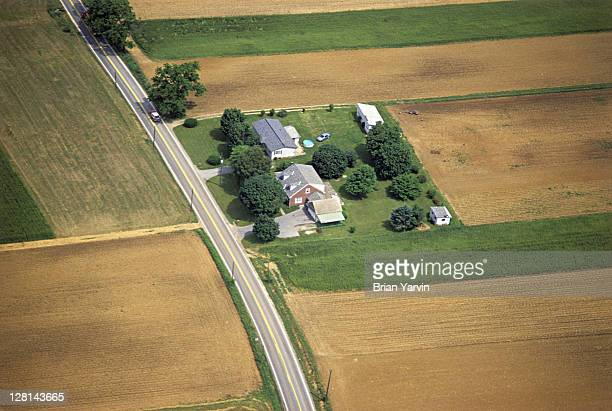 Aerial view of farm and field, Amish country, Lancaster County, Pennsylvania, USA