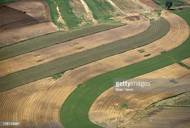 Aerial view of farm field, Amish country, Lancaster County, Pennsylvania, USA