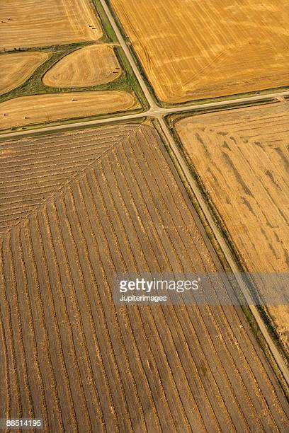 aerial view of farm fields, north dakota - great plains stock pictures, royalty-free photos & images