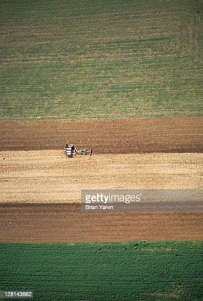 Aerial view of farm machinery and field, Amish country, Lancaster County, Pennsylvania, USA