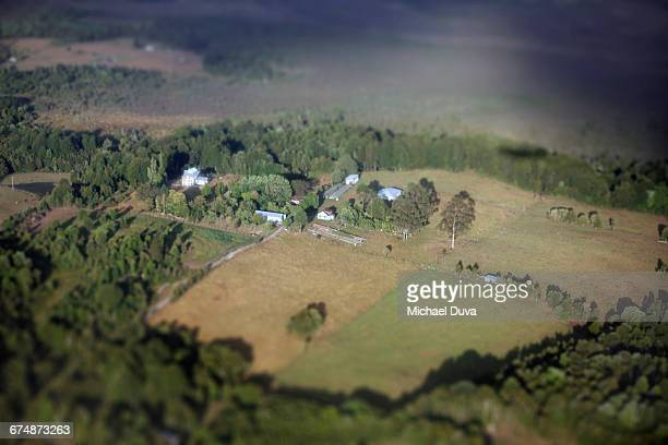aerial view of farmhouse and farm in chile