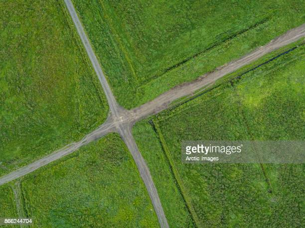 Aerial view of Farmland and Road