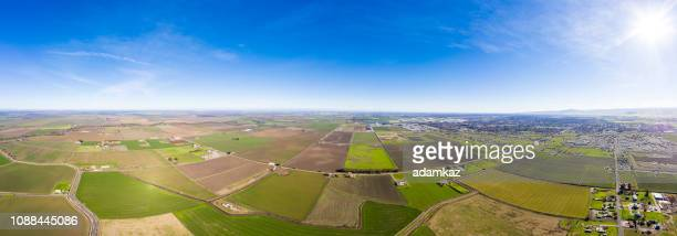 aerial view of farmland in california central valley - san joaquin valley stock pictures, royalty-free photos & images