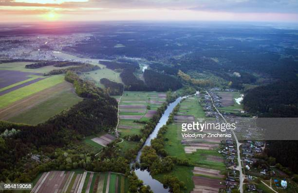 aerial view of farmland in zhitomir, ukraine. - zinchenko stock pictures, royalty-free photos & images